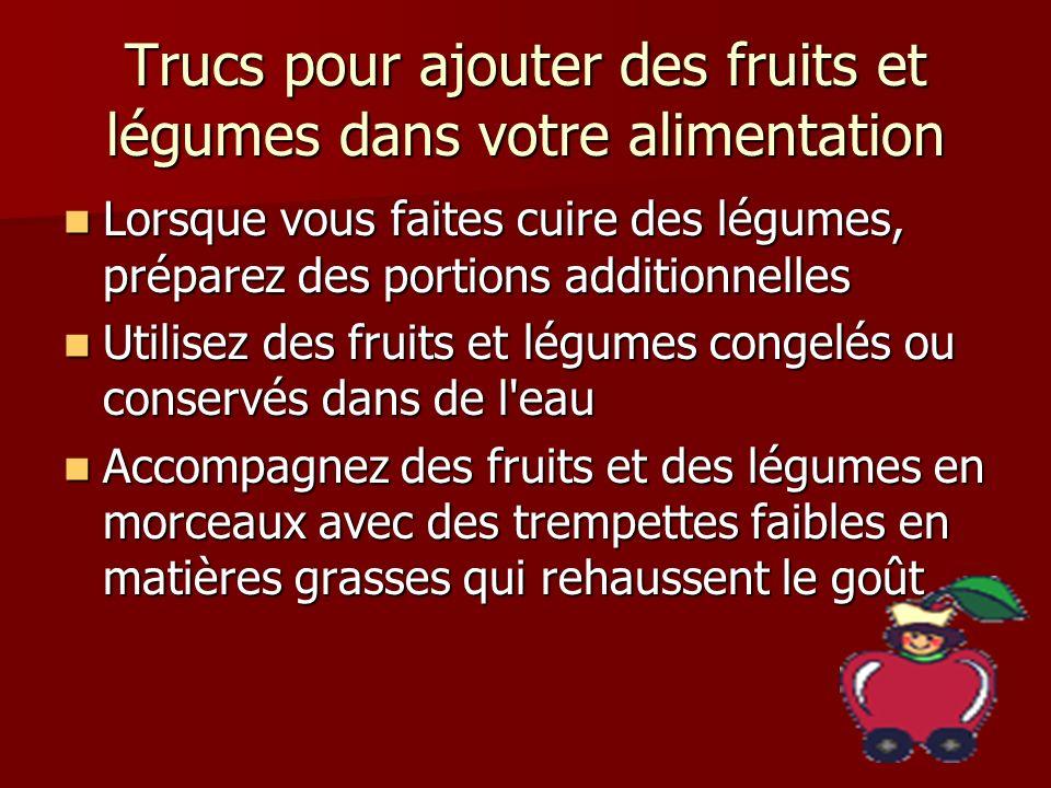 Trucs pour ajouter des fruits et légumes dans votre alimentation