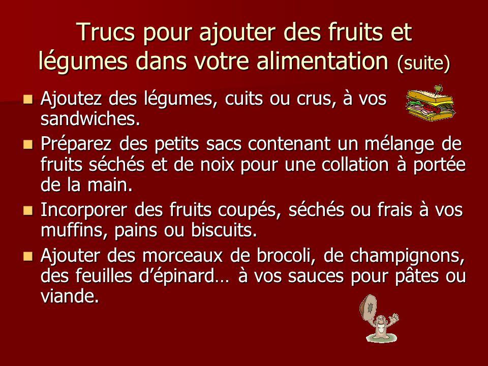 Trucs pour ajouter des fruits et légumes dans votre alimentation (suite)