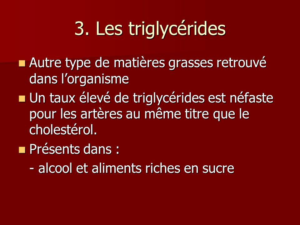 3. Les triglycérides Autre type de matières grasses retrouvé dans l'organisme.