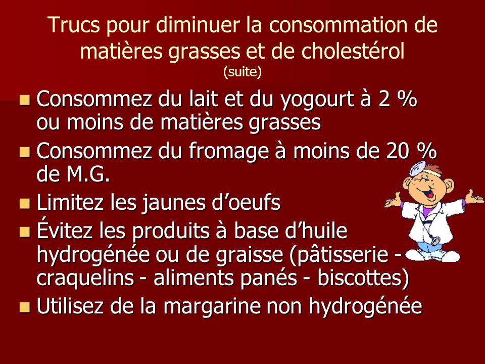 Consommez du lait et du yogourt à 2 % ou moins de matières grasses