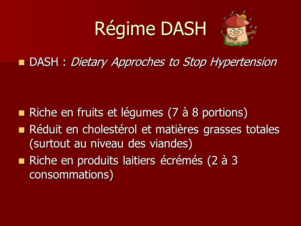 Régime DASH DASH : Dietary Approches to Stop Hypertension