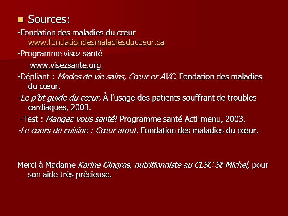 Sources: -Fondation des maladies du cœur www.fondationdesmaladiesducoeur.ca. -Programme visez santé.