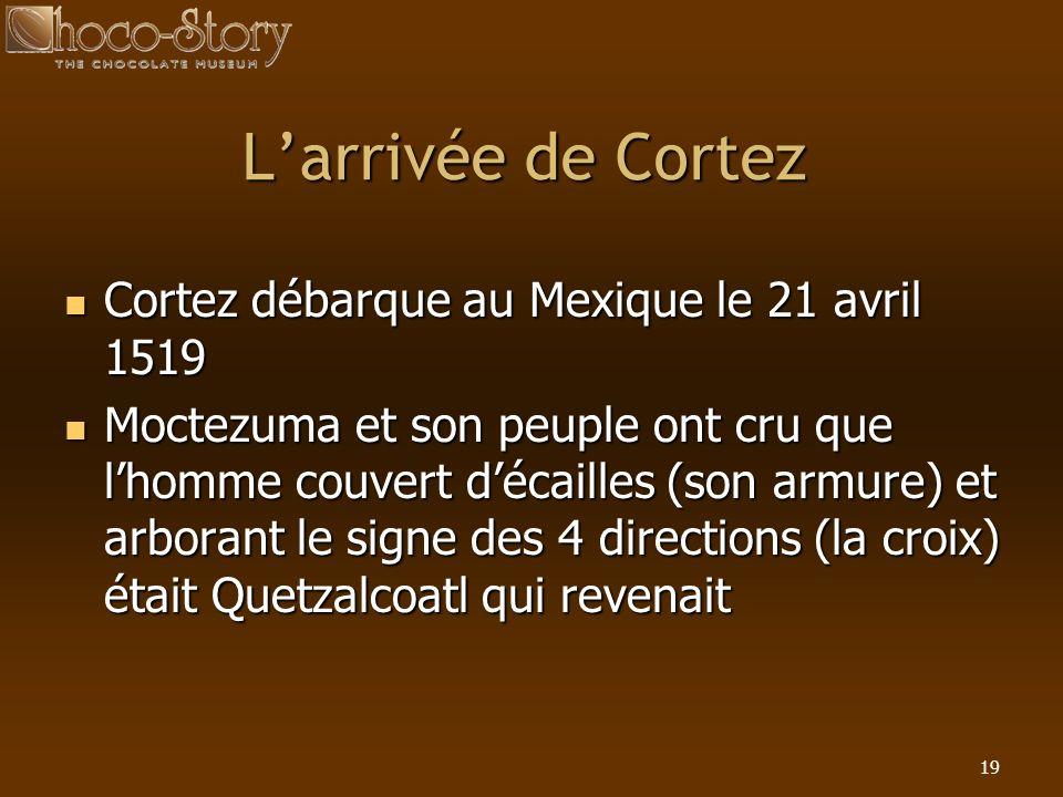 L'arrivée de Cortez Cortez débarque au Mexique le 21 avril 1519