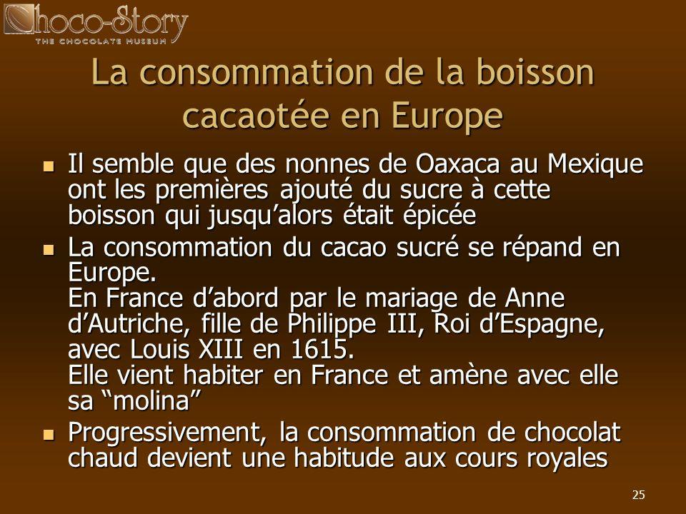 La consommation de la boisson cacaotée en Europe