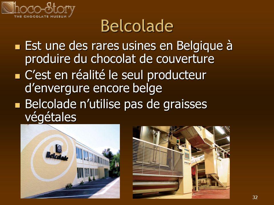 Belcolade Est une des rares usines en Belgique à produire du chocolat de couverture. C'est en réalité le seul producteur d'envergure encore belge.