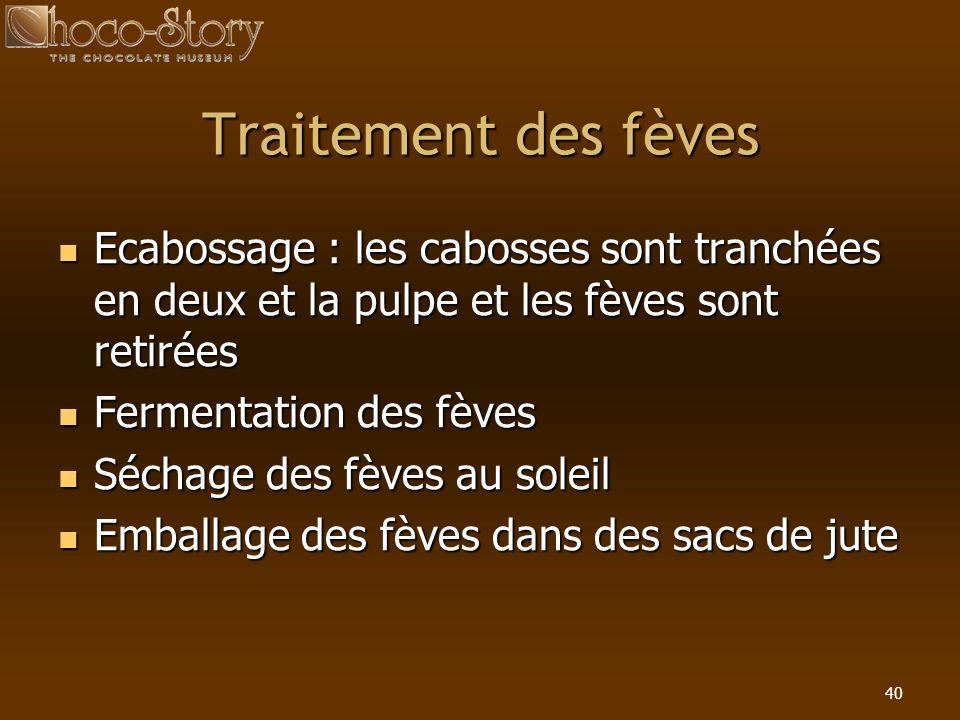 Traitement des fèves Ecabossage : les cabosses sont tranchées en deux et la pulpe et les fèves sont retirées.