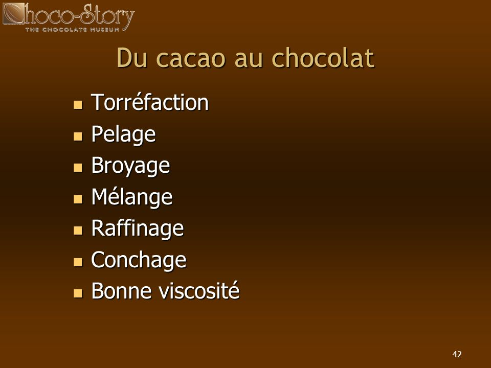Du cacao au chocolat Torréfaction Pelage Broyage Mélange Raffinage