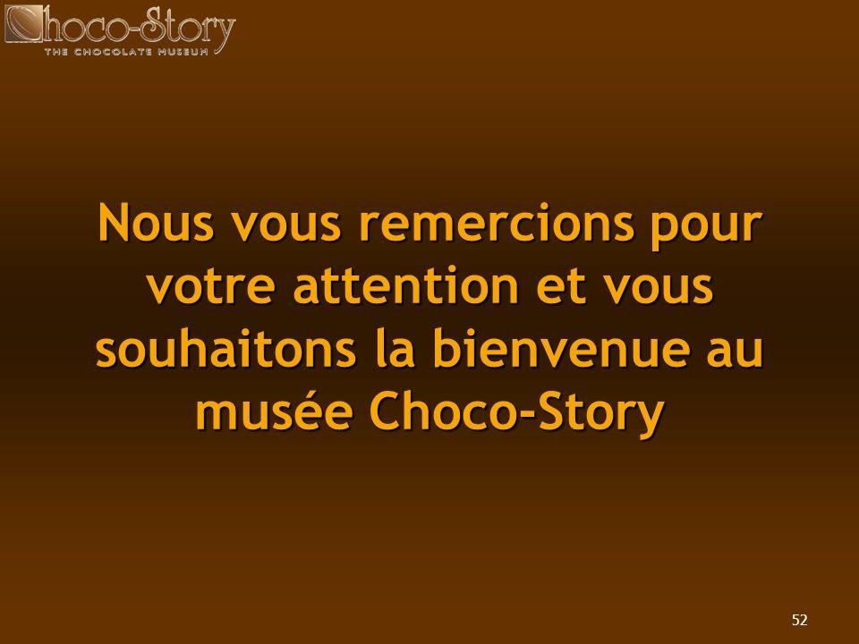 Nous vous remercions pour votre attention et vous souhaitons la bienvenue au musée Choco-Story