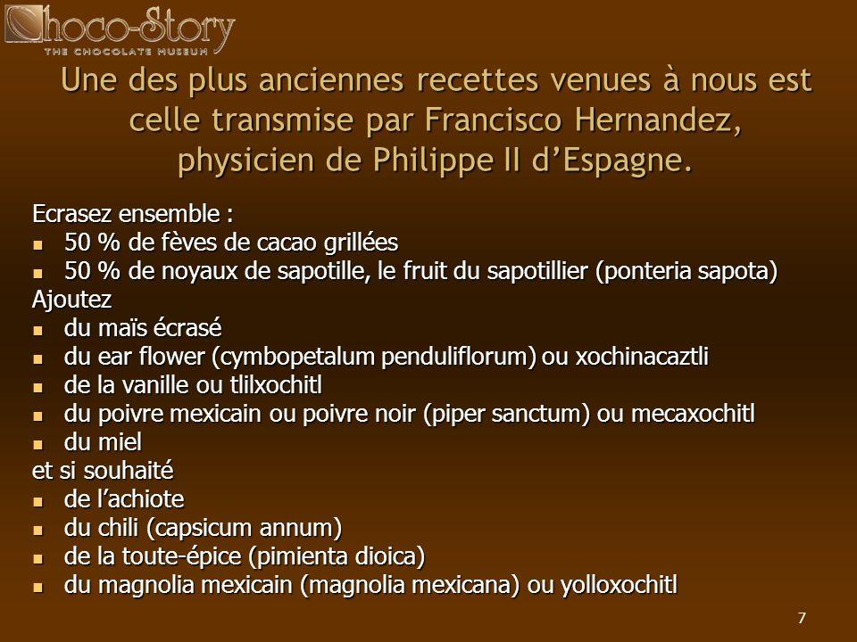 Une des plus anciennes recettes venues à nous est celle transmise par Francisco Hernandez, physicien de Philippe II d'Espagne.