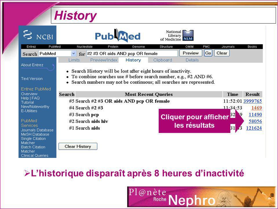 History L'historique disparaît après 8 heures d'inactivité