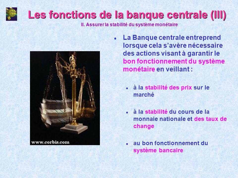 Les fonctions de la banque centrale (III)