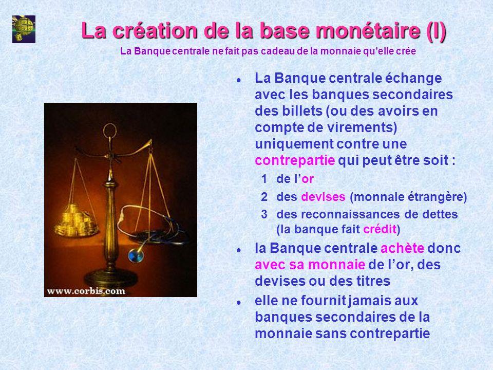 La création de la base monétaire (I)