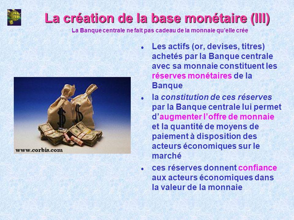 La création de la base monétaire (III)