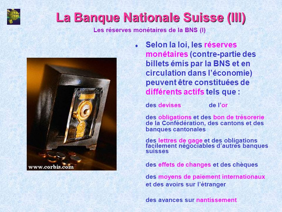La Banque Nationale Suisse (III)