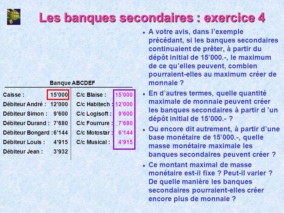 Les banques secondaires : exercice 4