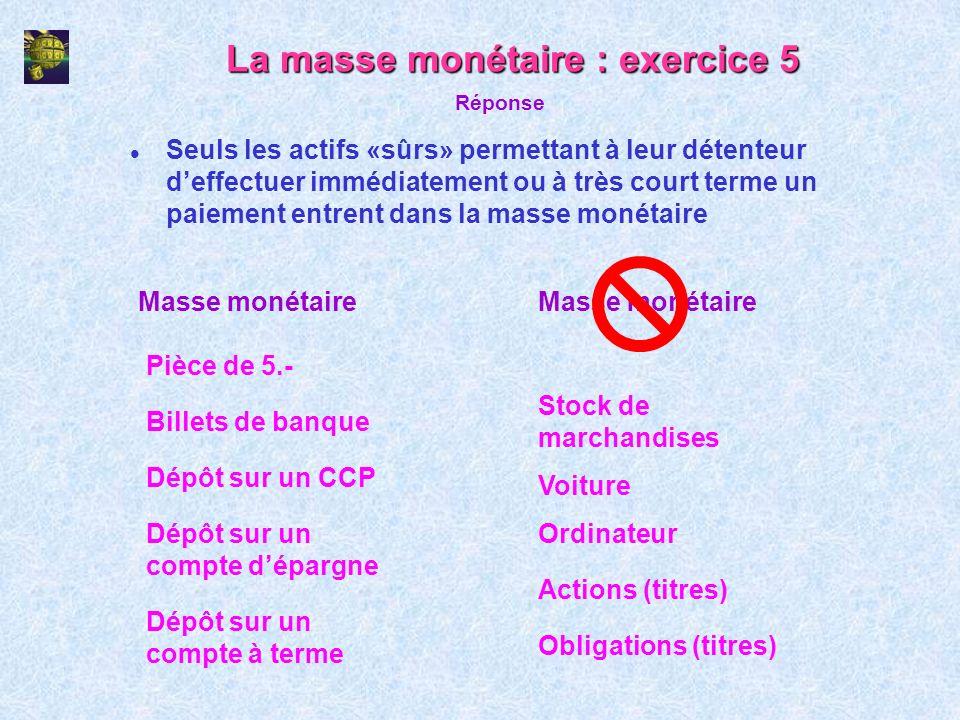 La masse monétaire : exercice 5