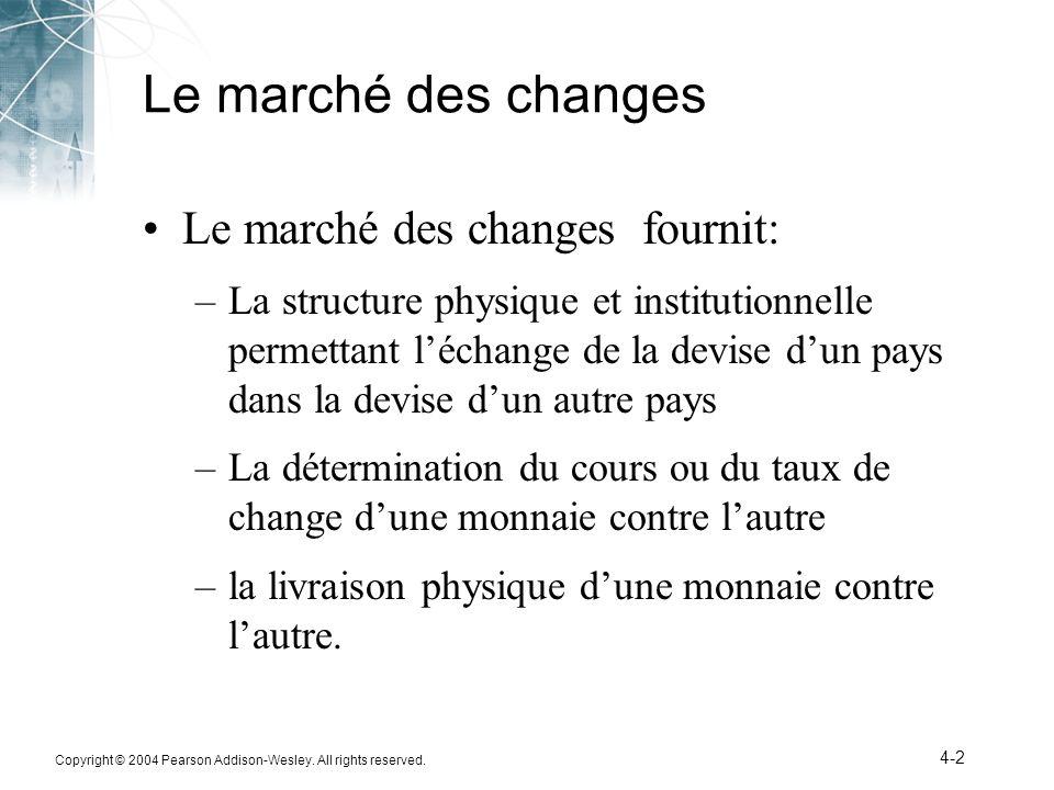 Le marché des changes Le marché des changes fournit: