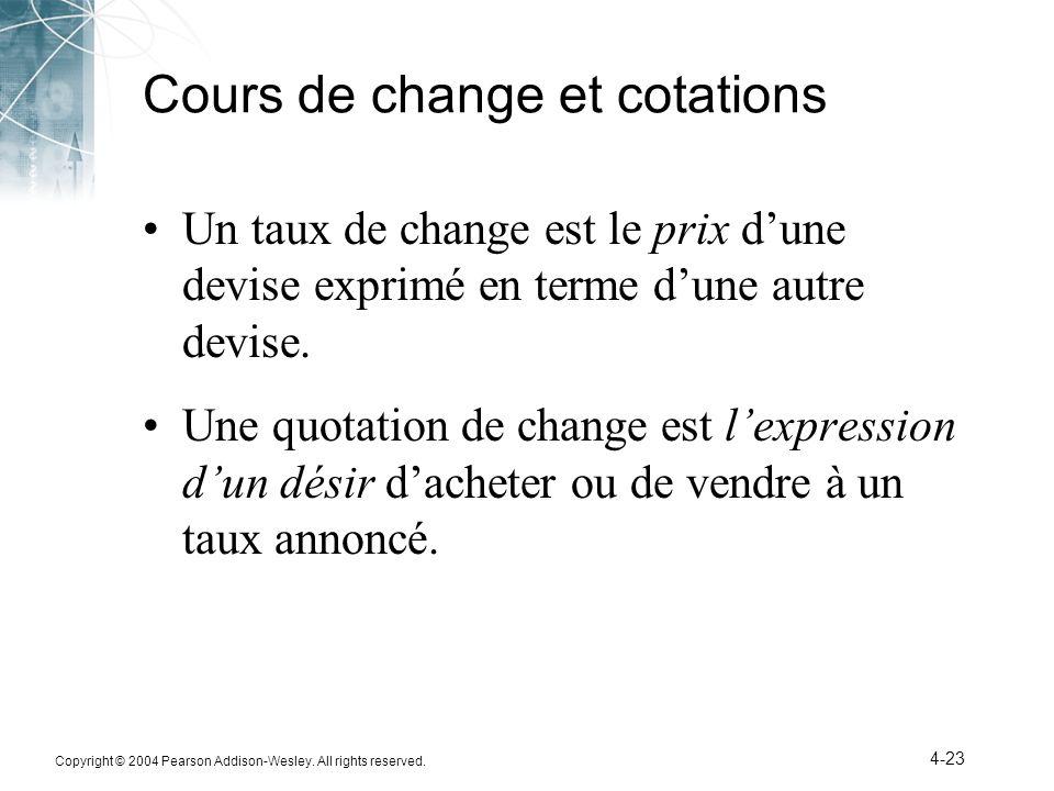 Cours de change et cotations
