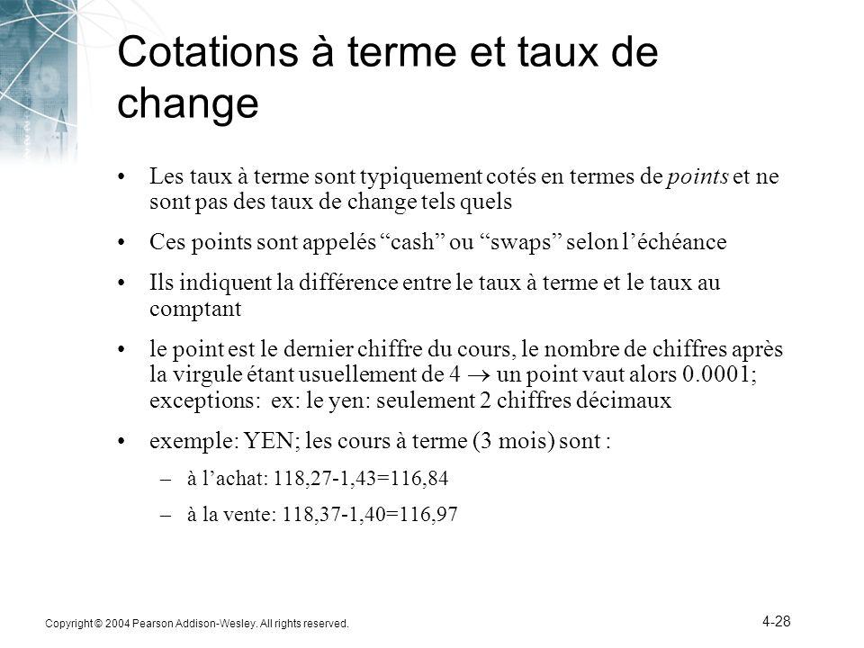 Cotations à terme et taux de change