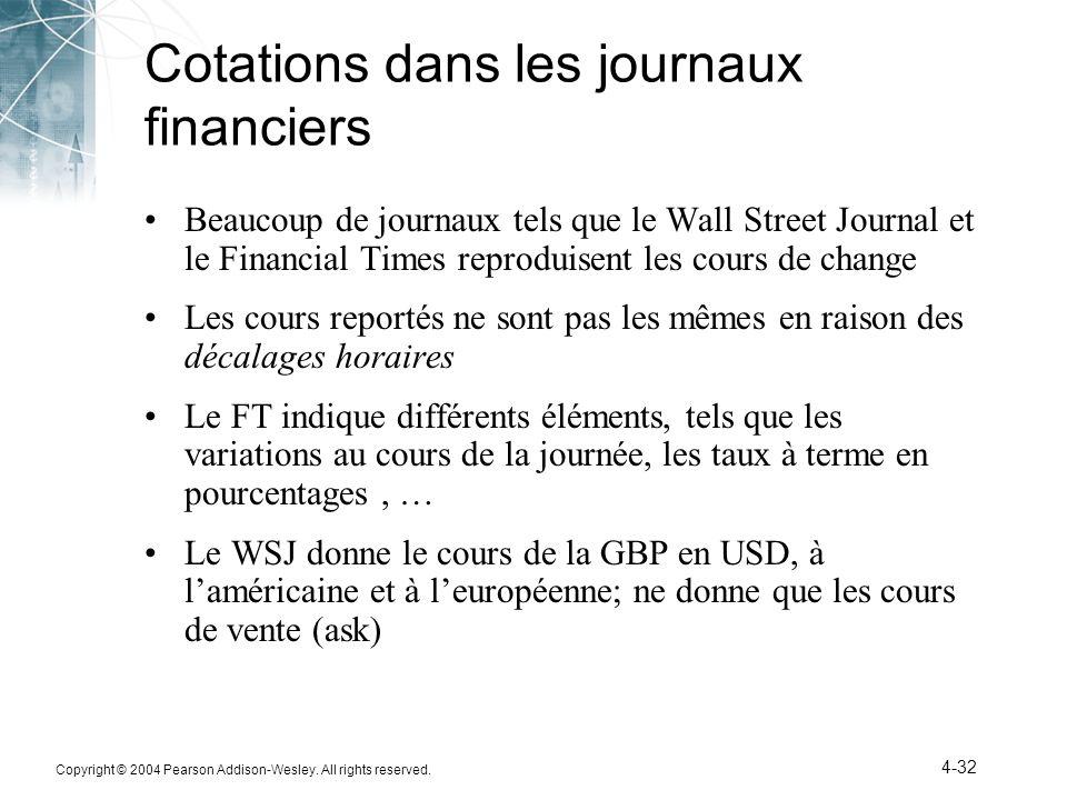 Cotations dans les journaux financiers