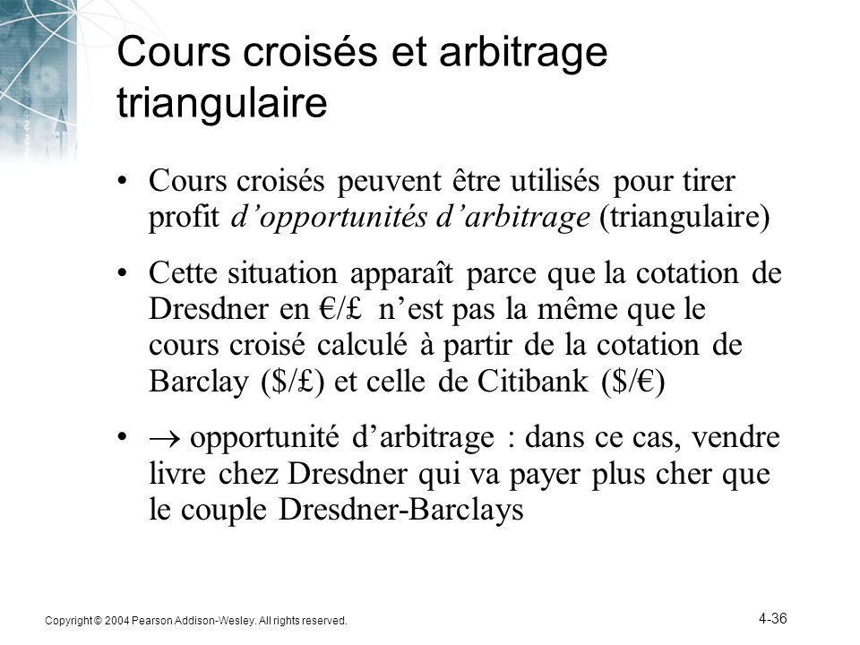 Cours croisés et arbitrage triangulaire