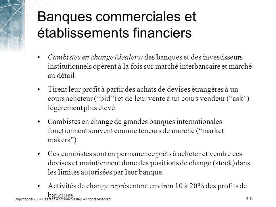 Banques commerciales et établissements financiers