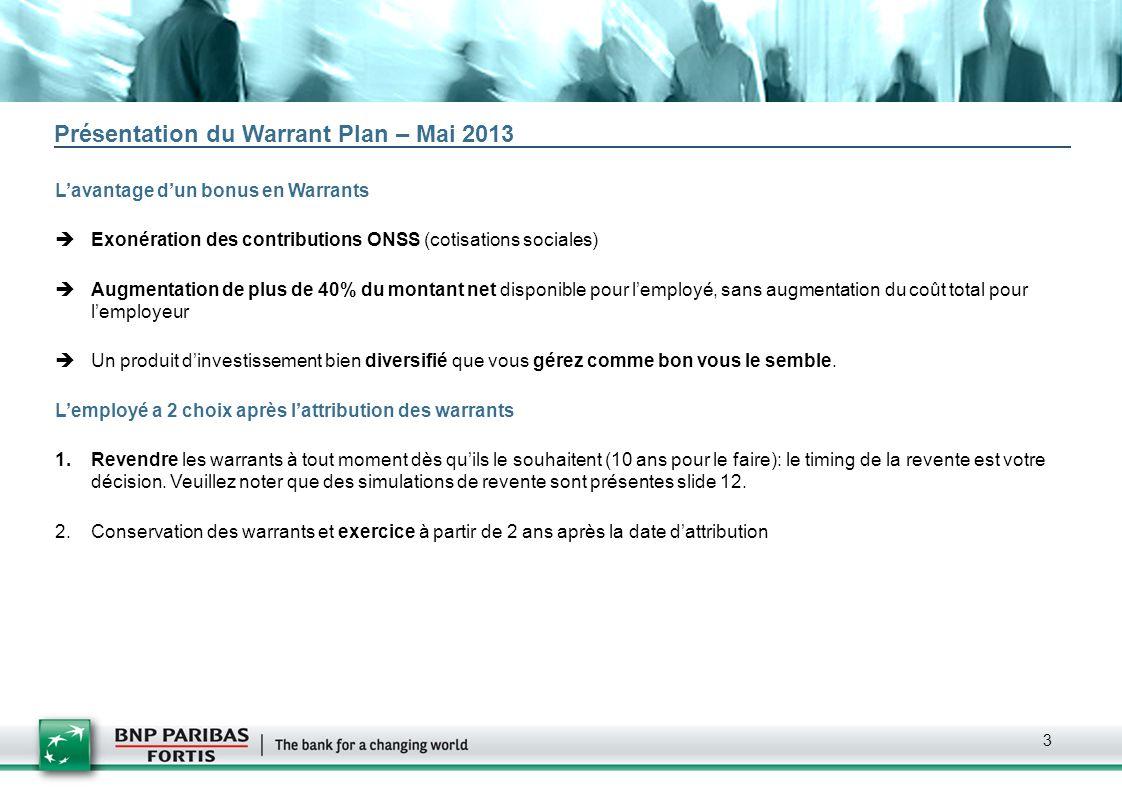 Présentation du Warrant Plan – Mai 2013
