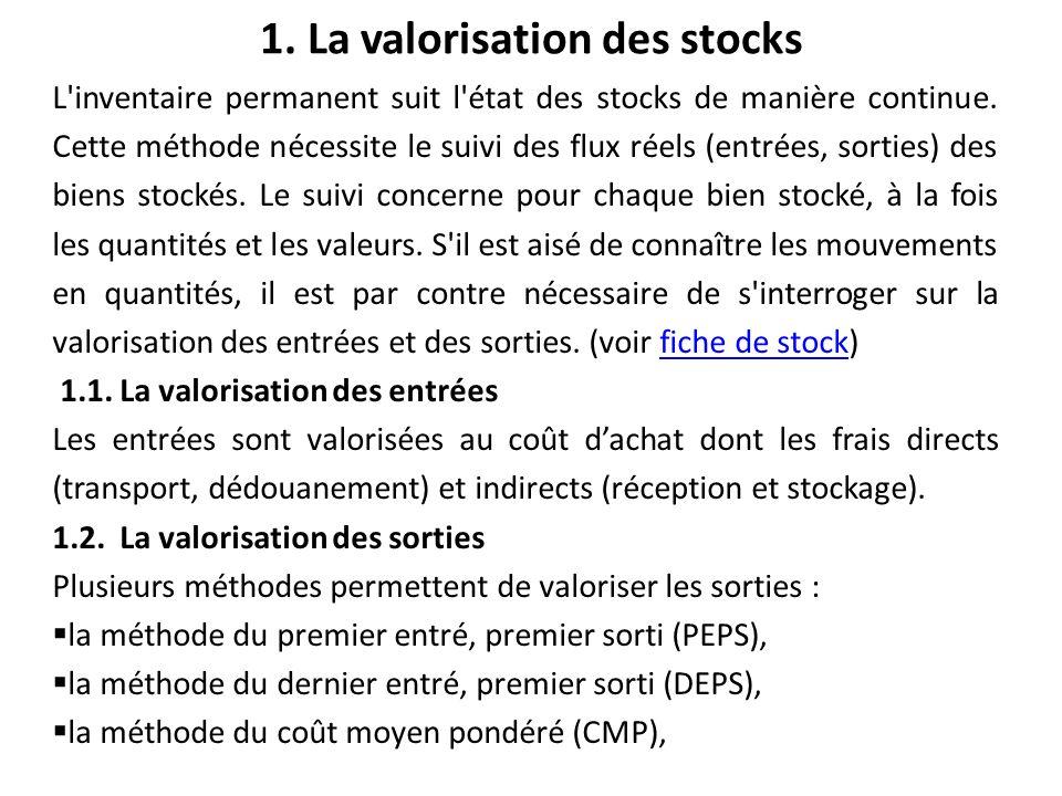 1. La valorisation des stocks