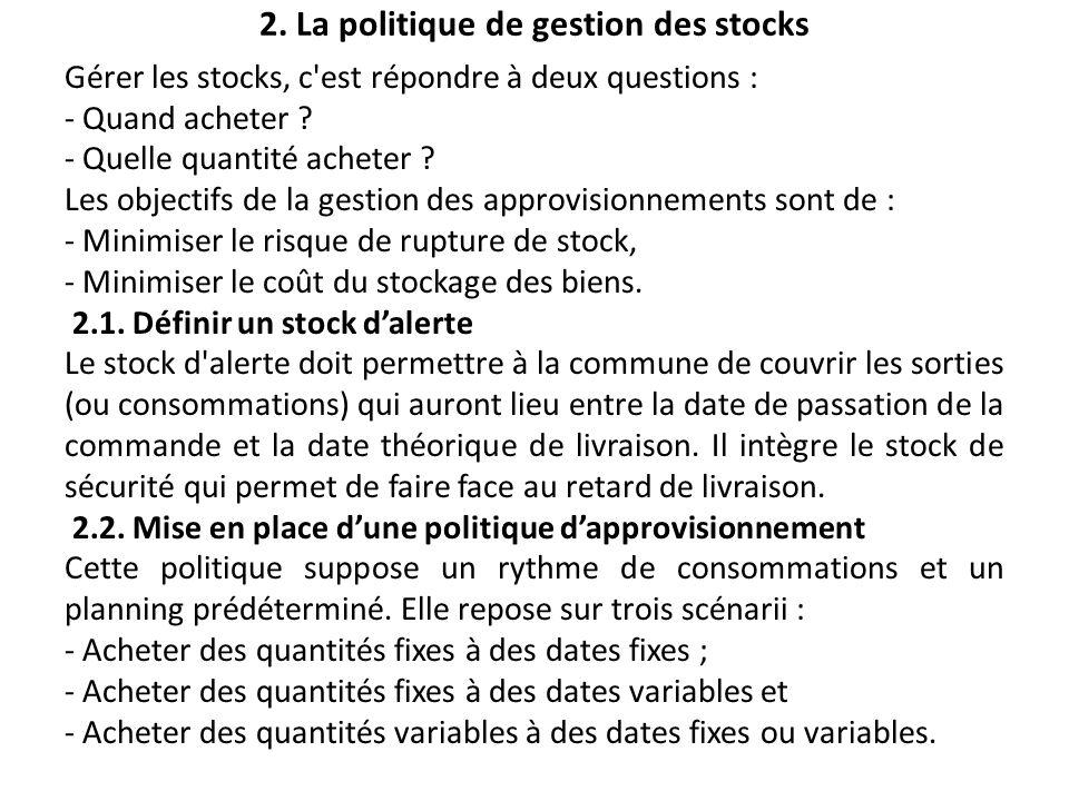 2. La politique de gestion des stocks