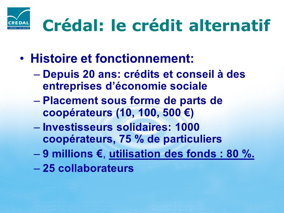Crédal: le crédit alternatif