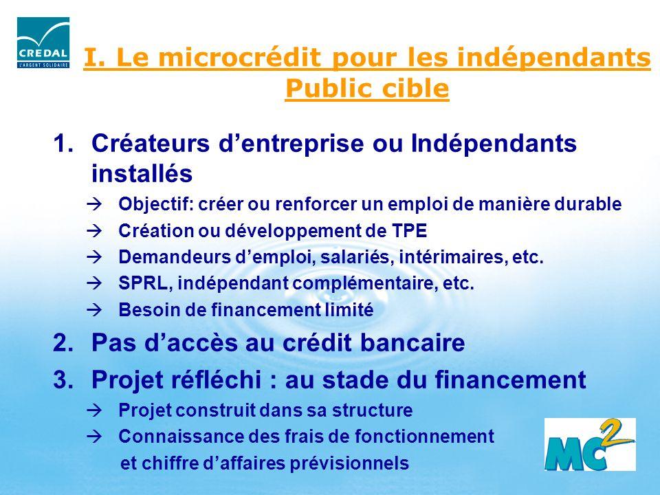 I. Le microcrédit pour les indépendants Public cible