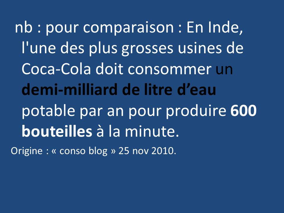 nb : pour comparaison : En Inde, l une des plus grosses usines de Coca-Cola doit consommer un demi-milliard de litre d'eau potable par an pour produire 600 bouteilles à la minute.