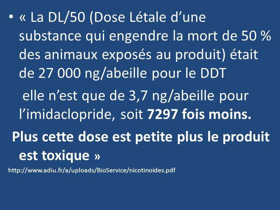Plus cette dose est petite plus le produit est toxique »