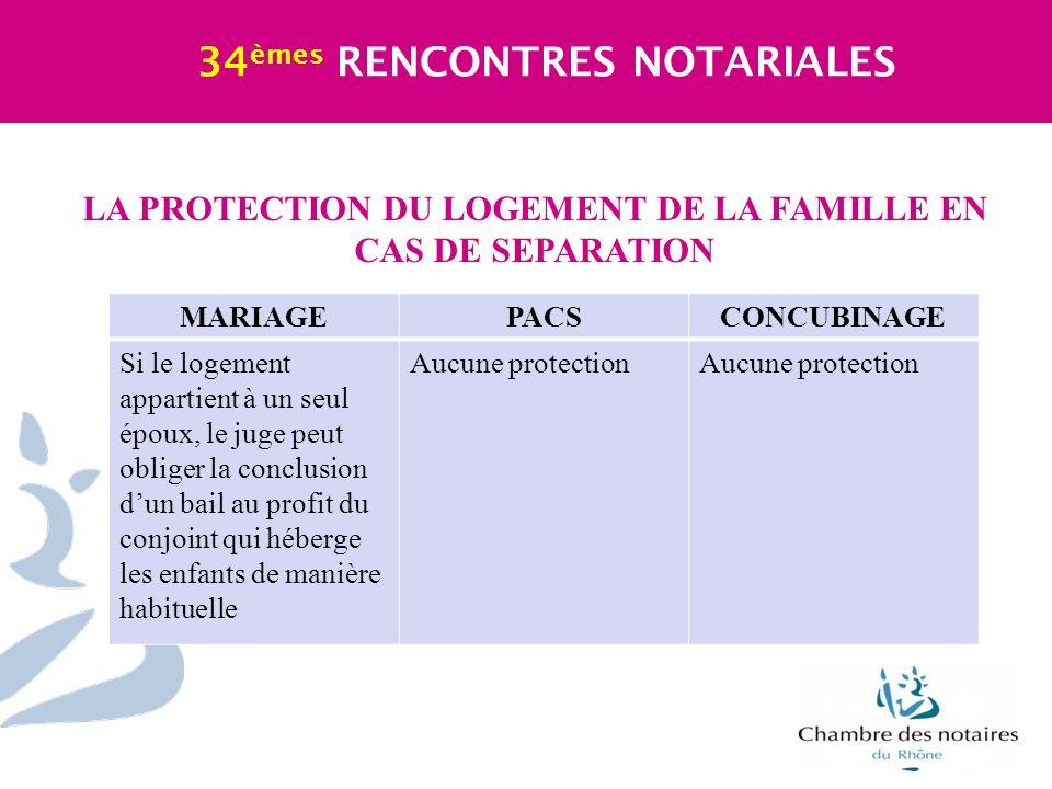 LA PROTECTION DU LOGEMENT DE LA FAMILLE EN CAS DE SEPARATION