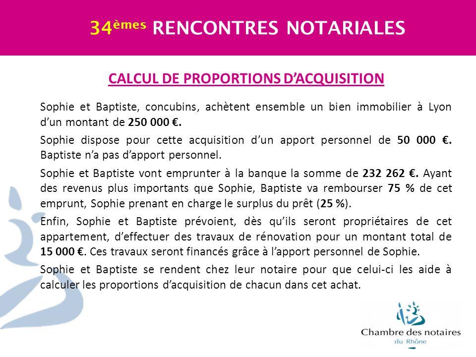 CALCUL DE PROPORTIONS D'ACQUISITION