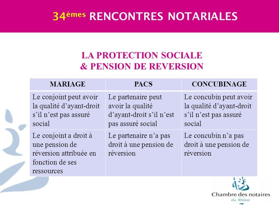 LA PROTECTION SOCIALE & PENSION DE REVERSION