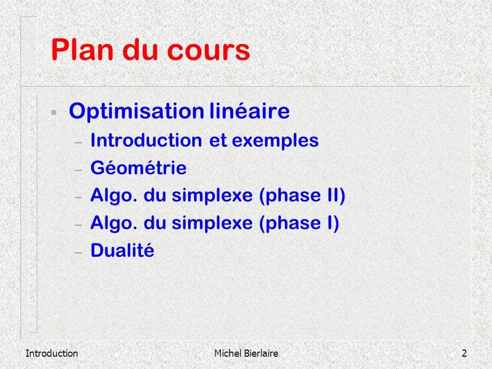 Plan du cours Optimisation linéaire Introduction et exemples Géométrie