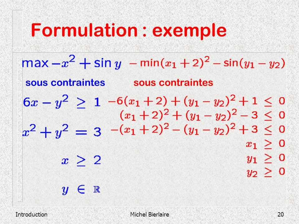 Formulation : exemple sous contraintes sous contraintes Introduction