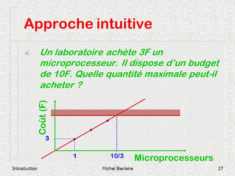 Approche intuitive Un laboratoire achète 3F un microprocesseur. Il dispose d'un budget de 10F. Quelle quantité maximale peut-il acheter