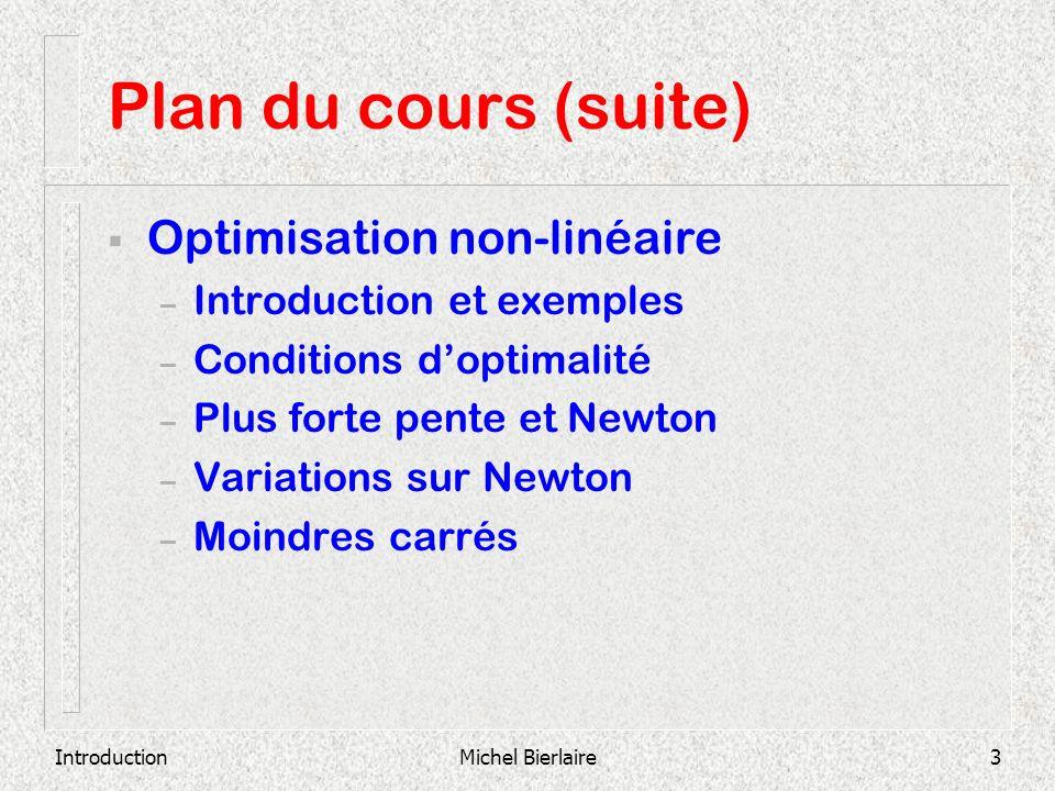 Plan du cours (suite) Optimisation non-linéaire