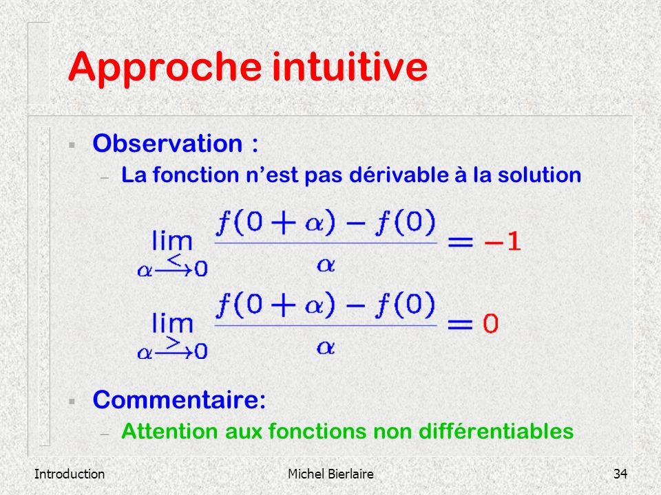 Approche intuitive Observation : Commentaire: