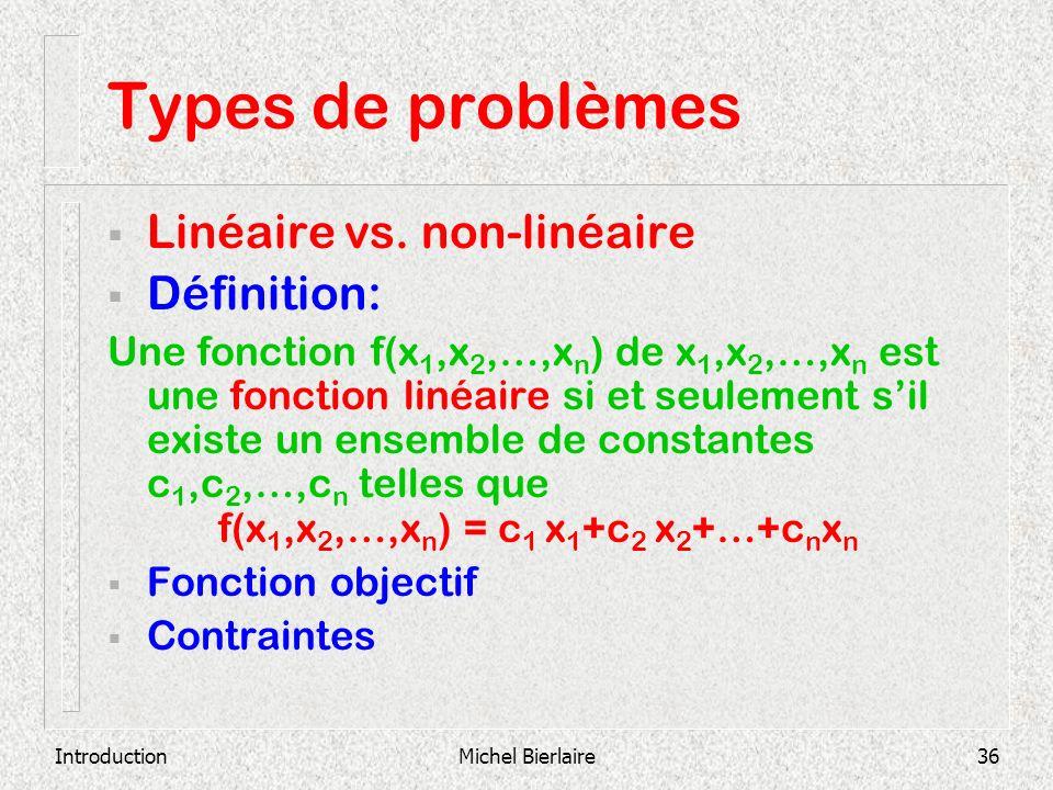 Types de problèmes Linéaire vs. non-linéaire Définition: