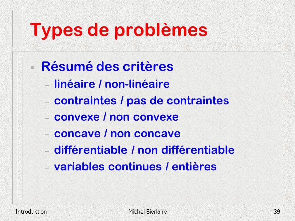 Types de problèmes Résumé des critères linéaire / non-linéaire
