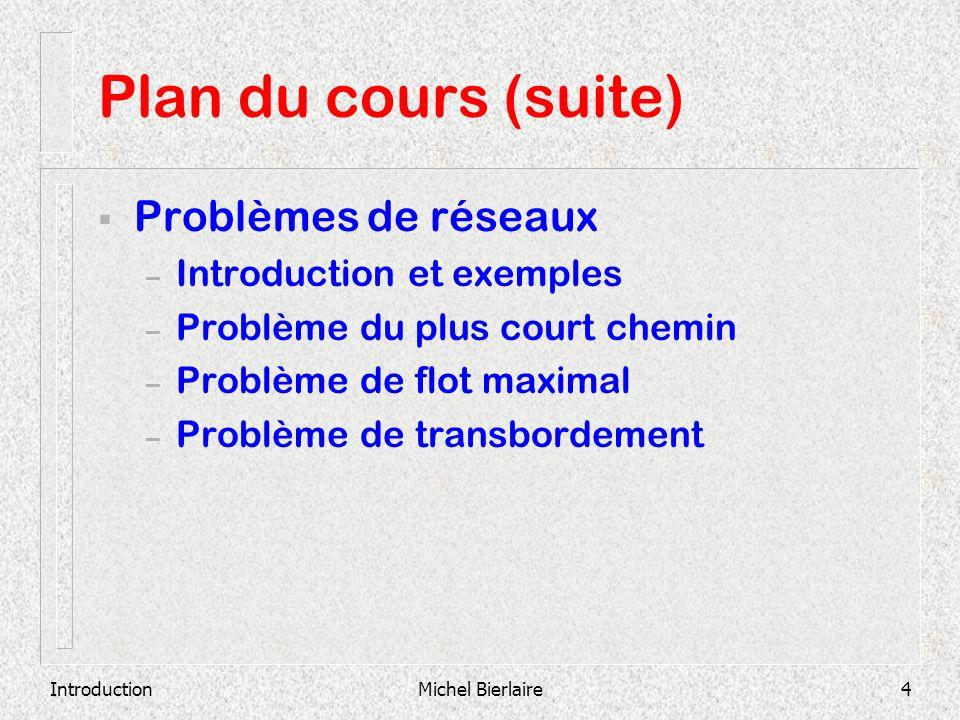 Plan du cours (suite) Problèmes de réseaux Introduction et exemples