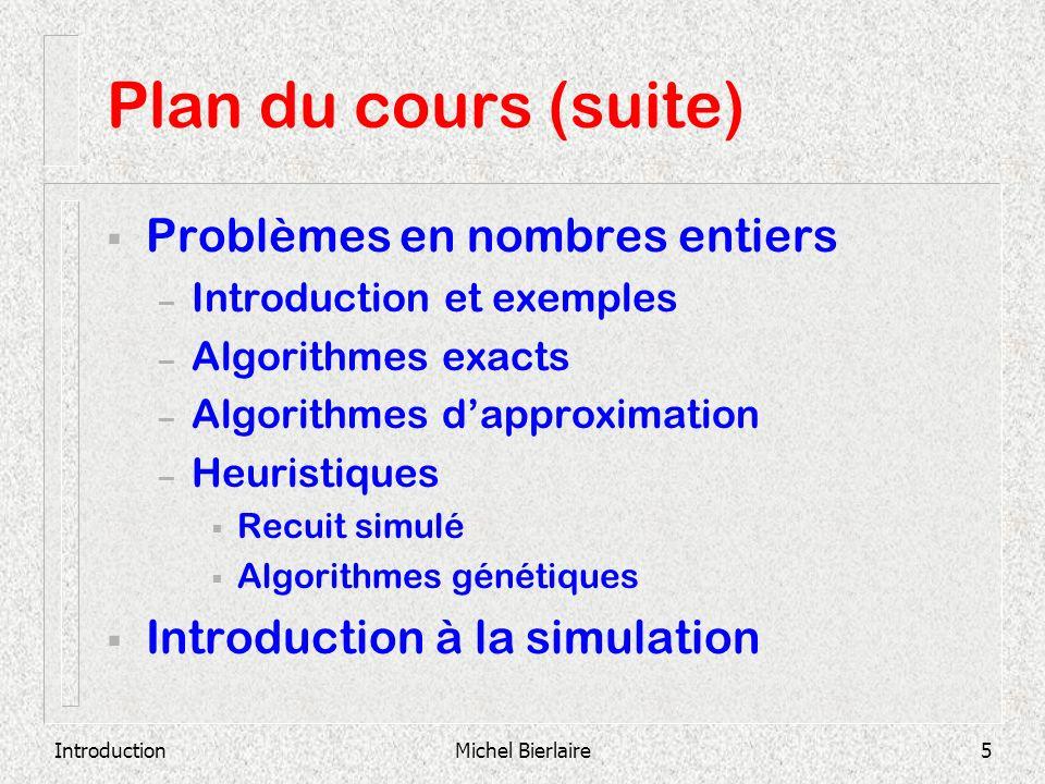 Plan du cours (suite) Problèmes en nombres entiers