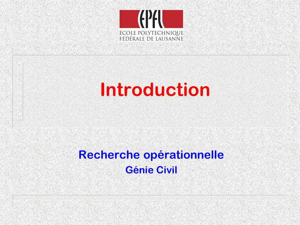 Recherche opérationnelle Génie Civil