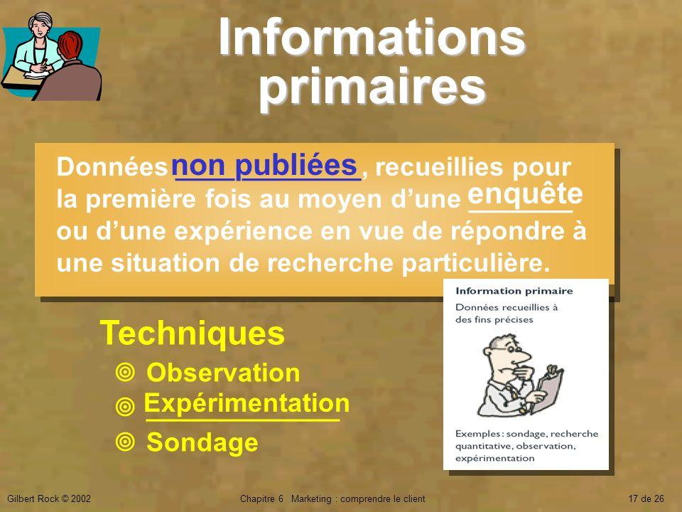 Informations primaires