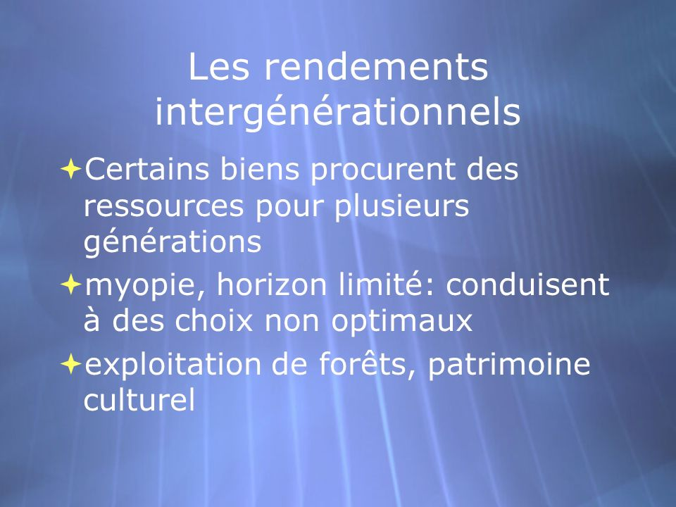 Les rendements intergénérationnels