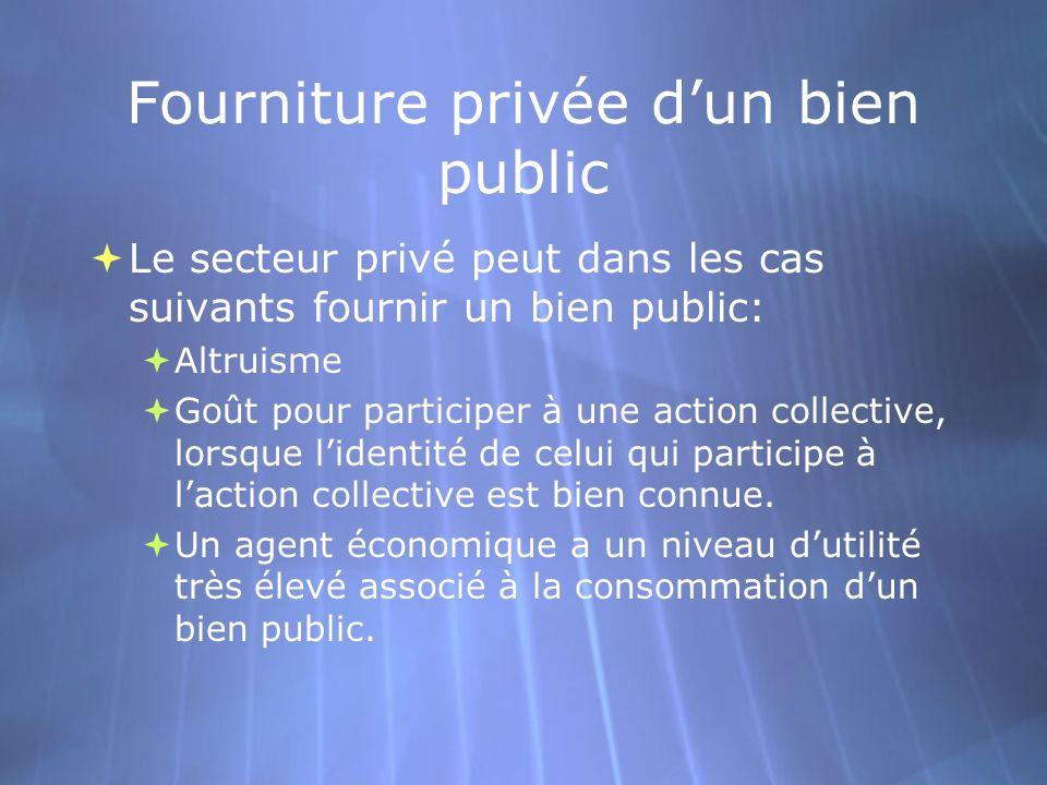 Fourniture privée d'un bien public