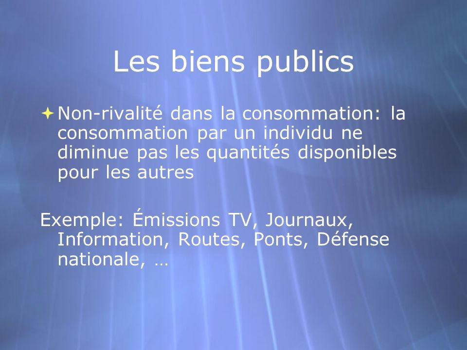Les biens publics Non-rivalité dans la consommation: la consommation par un individu ne diminue pas les quantités disponibles pour les autres.
